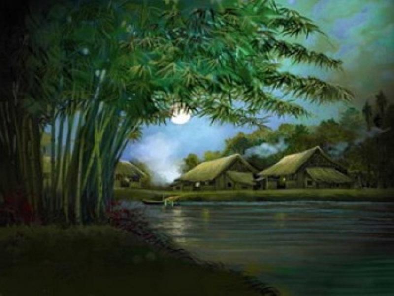 Ánh trăng vàng hiền hoà, trong suốt bao trùm lên làng mạc, thôn xóm và cả cánh đồng rộng lớn bao la.