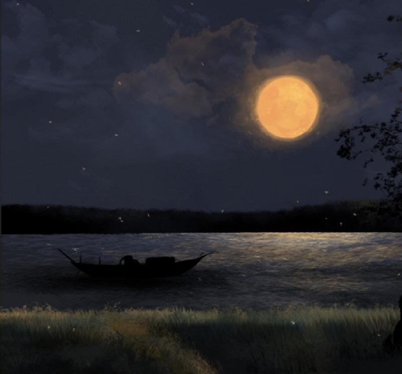 Dưới ánh trăng, dòng sông sáng rực lên như một dải lụa vàng lấp lánh