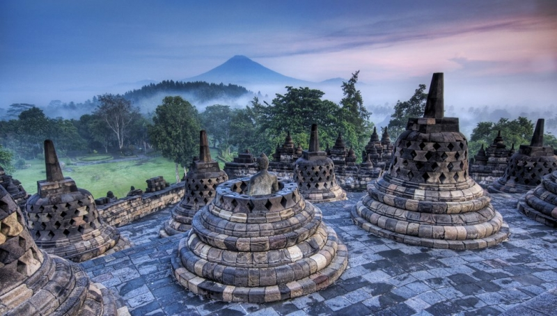 Đền Borobudur ở Indonesia.