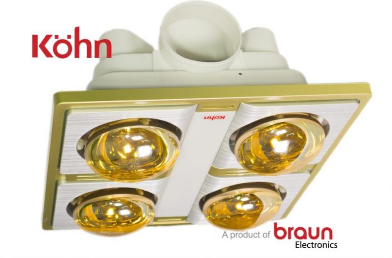 Đèn sưởi nhà tắm Braun Kohn KN04G âm trần 4 bóng mang đến không gian ấm áp trong nhà tắm