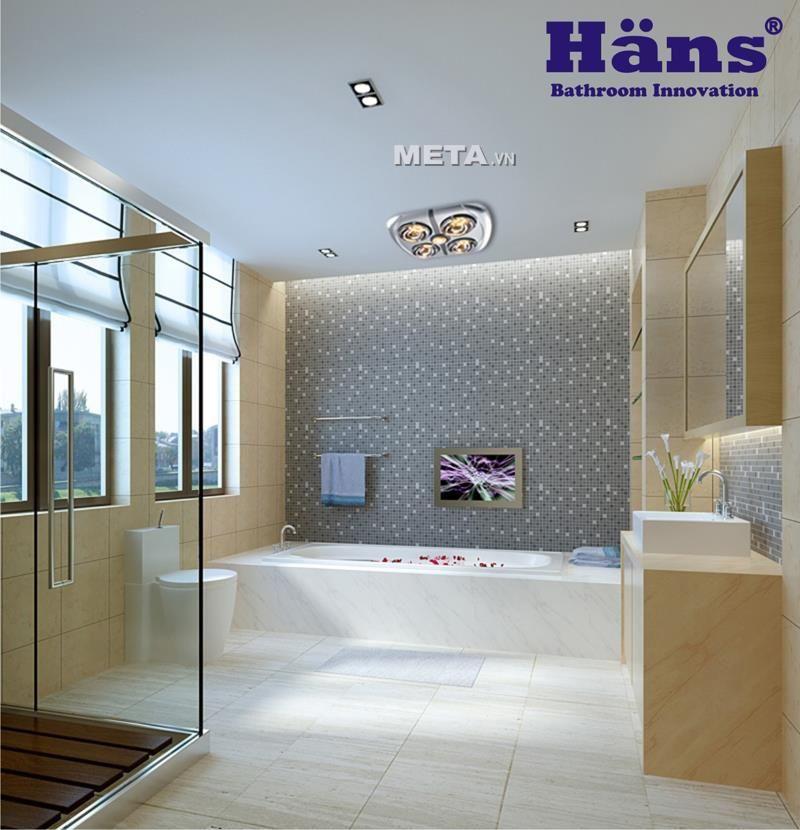 Đèn sưởi nhà tắm - Đèn sưởi hồng ngoại Hans 4 bóng