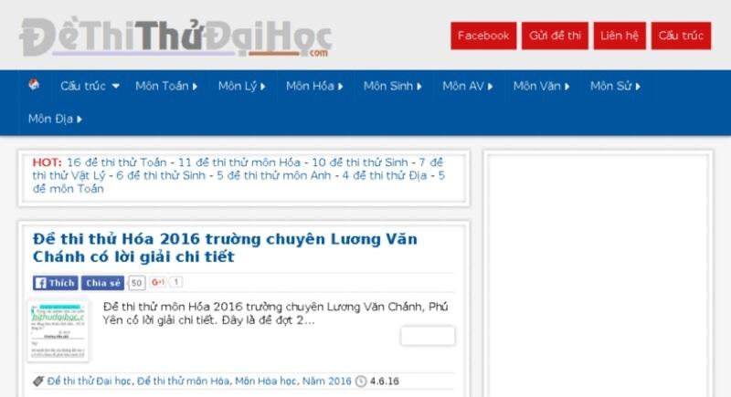 Website luyện thi đại học Dethithudaihoc.com