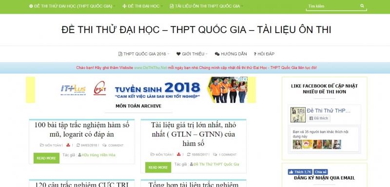 Giao diện trang web dethithu.net