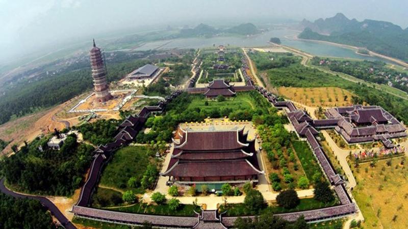 Khuôn viên chùa Bái Đính nhìn từ trên cao