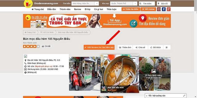 Địa điểm ăn uống không chỉ là một trang web ẩm thực mà còn là một trang về du lịch nổi tiếng hàng đầu của Việt Nam