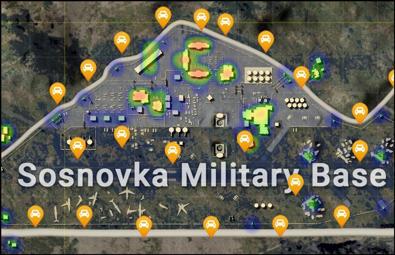 Khu vực Sosnovka Military Base trong map Erangel