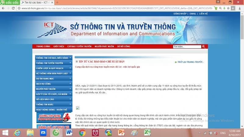 Sở thông tin và truyền thông Hồ Chí Minh cung cấp dịch vụ công trực tuyến