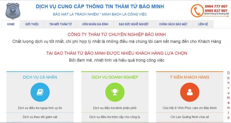 Trang web của công ty dịch vụ cung cấp thông tin Bảo Minh