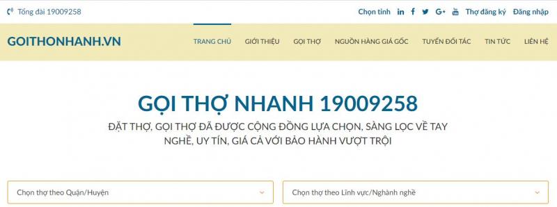 Dịch vụ gọi thợ Goithonhanh.vn