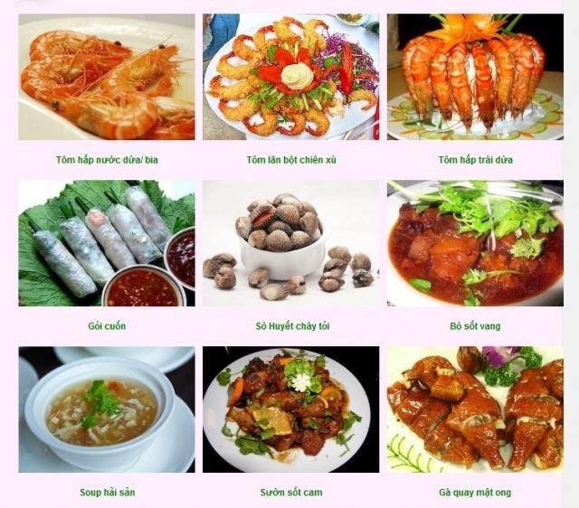 Một số món ăn tại tiệc Kim Minh