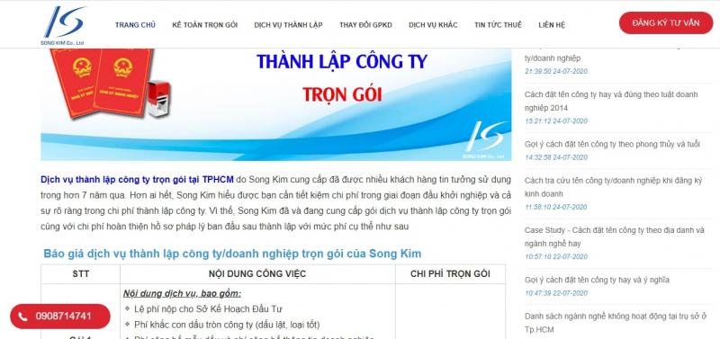 Dịch vụ thành lập công ty của Song Kim