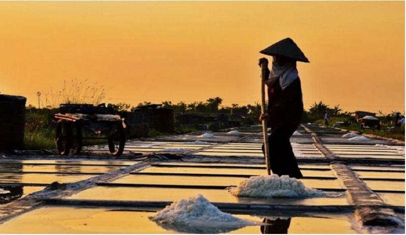 Những hạt muối được tạo thành từng đống