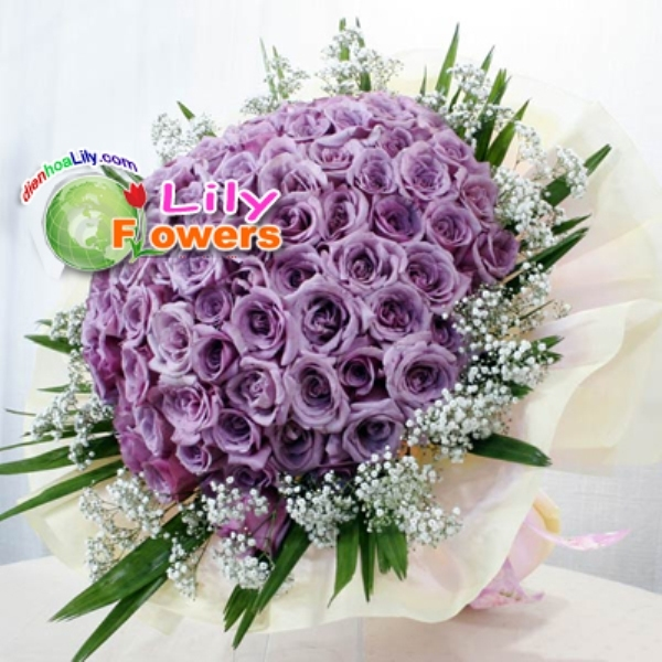 Bó hoa hồng tím tuyệt đẹp này có giá khoảng 2.500.000 đồng