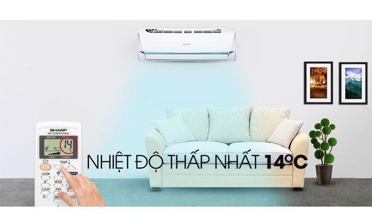 Máy lạnh Sharp 1 Hp AH-A9UEW có nhiệt độ thấp nhất 14 độ C, phù hợp không gian nhỏ dưới 15 mét vuông