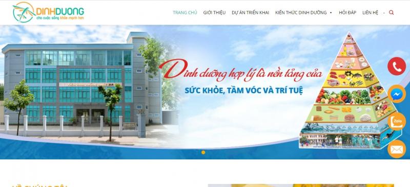 Giao diện website Dinh dưỡng