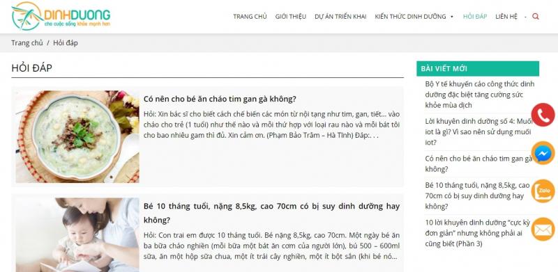 Mục Hỏi đáp trong website http://dinhduong.com.vn/