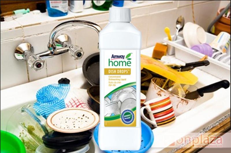 Nước Rửa Chén Bát Amway Dish Drops làm sạch vết bẩn trên bát đĩa và an toàn với da tay