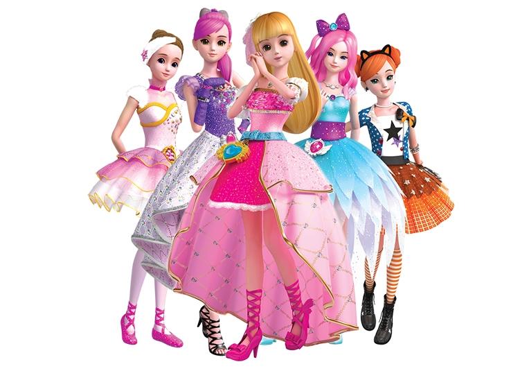 Các nhân vật trong phim hoạt hình về công chúa Secret Dress Jouju