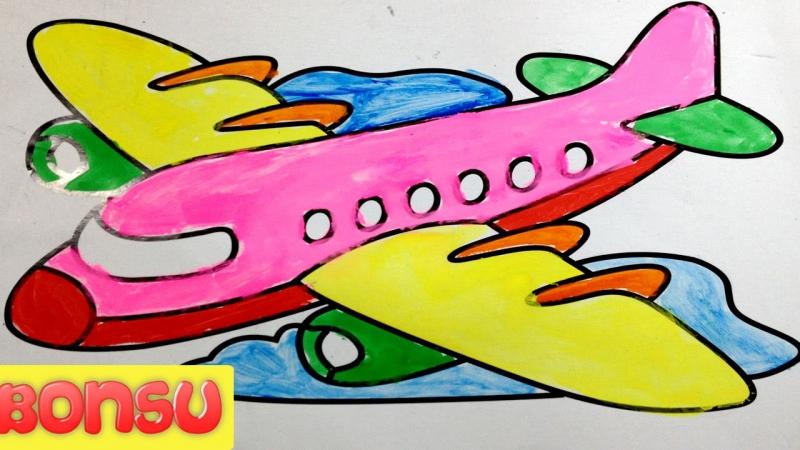 Đồ chơi thông minh - Hướng dẫn bé tập vẽ tranh tô màu nước máy bay