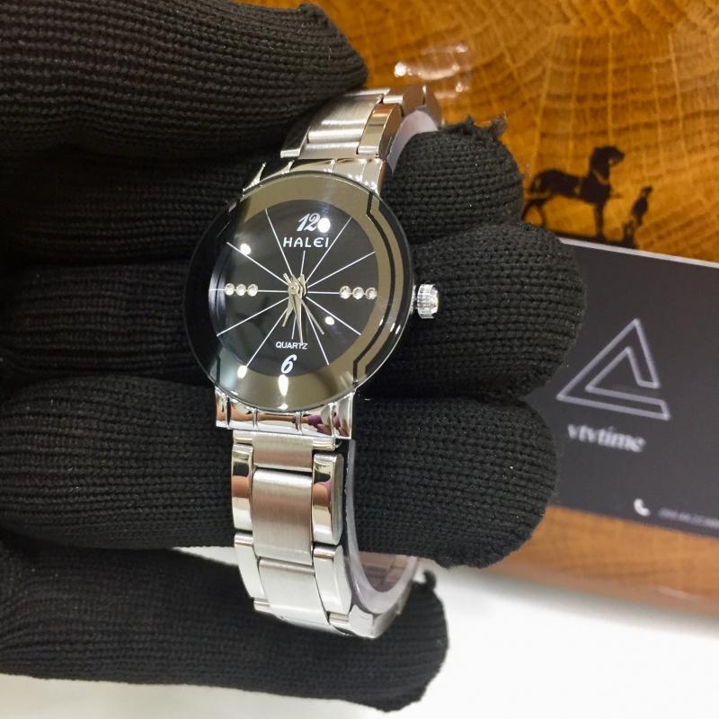 Đồng hồ nữ Halei mặt tròn đen
