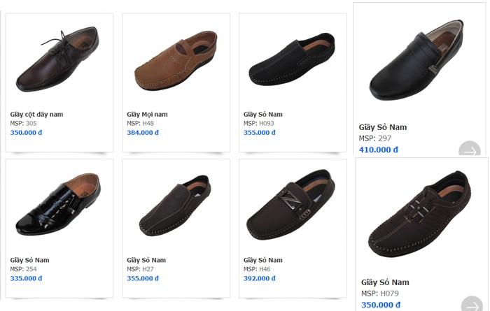 Một số kiểu giày dành cho nam