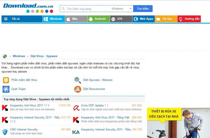 Giao diện trang web Download.com.vn