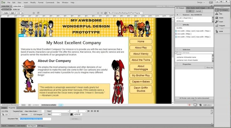 Giao diện của DreamWeaver đang thiết kế website