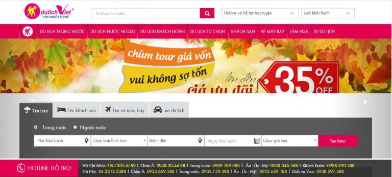 Giao diện Website Dulichviet.com.vn