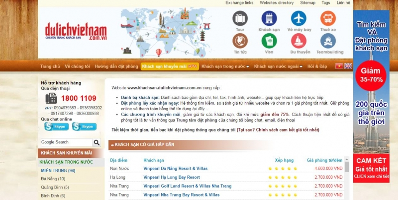 Giao diện website của Dulichvietnam
