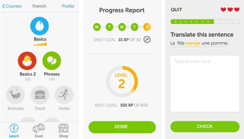 Ứng dụng học tiếng Anh trên smartphone Duolingo