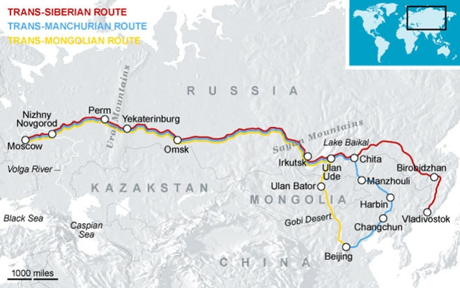 Bản đồ đường sắt xuyên Siberia