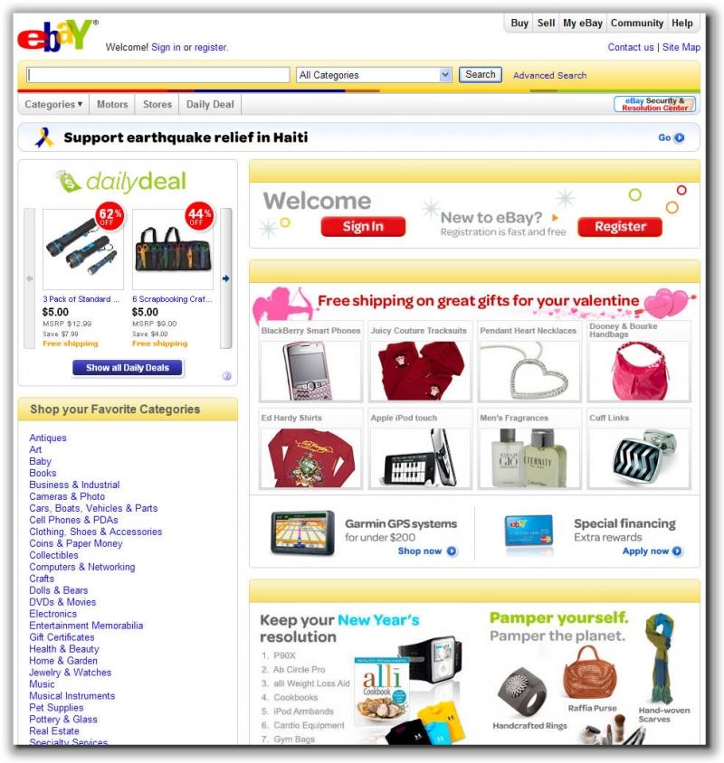 Với eBay, hàng ngày bạn đều có cơ hội tham gia các phiên đấu giá trên trang web nổi tiếng thứ 10 ở Mỹ này.