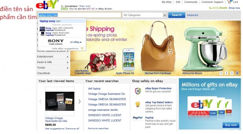 Ebay cũng là một trong những trang bán hàng online nổi tiếng đến từ Mỹ