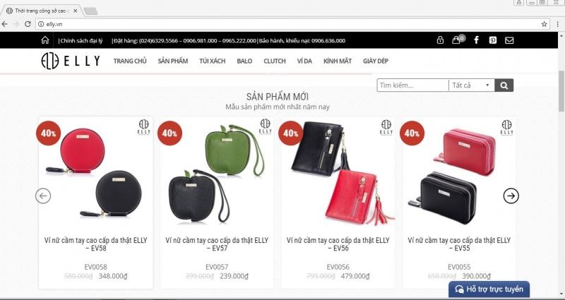 Website của ELLY và các mẫu túi xách.