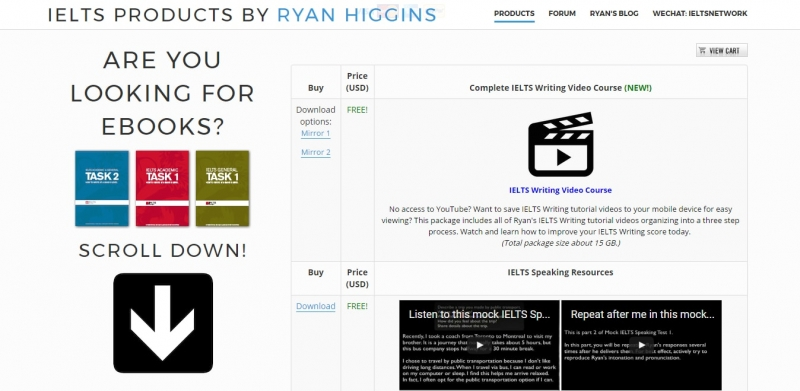 Các bài học của English Ryan đều miễn phí