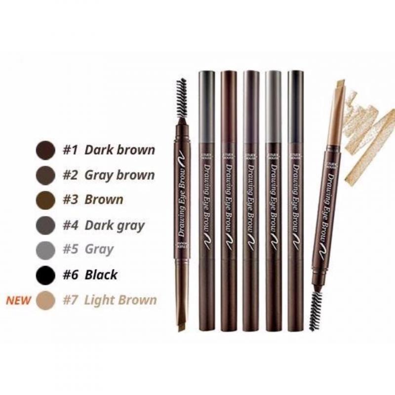 Etude House Drawing Eye Brow này có 2 đầu với 6 màu để bạn dễ dàng lựa chọn phù hợp vào màu da, màu tóc.