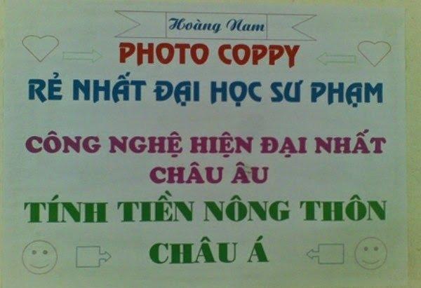 Photo copy tính tiền nông thôn Châu Á