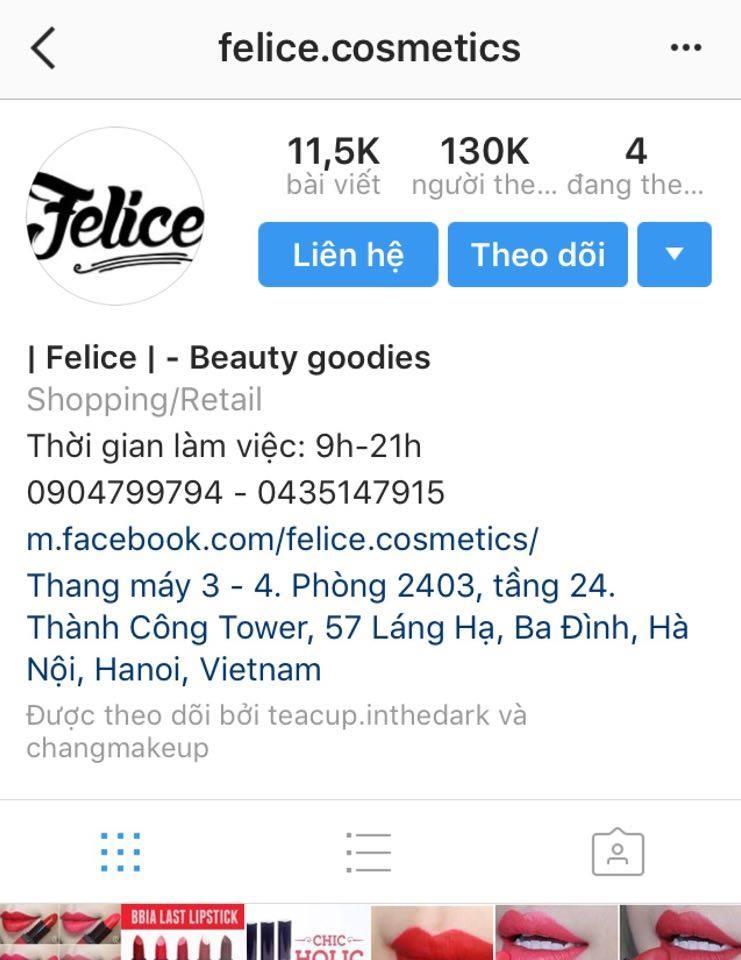 Ảnh chụp màn hình shop @felice.cosmetics