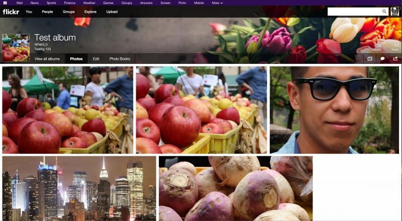 Giao diện lưu trữ ảnh của flickr