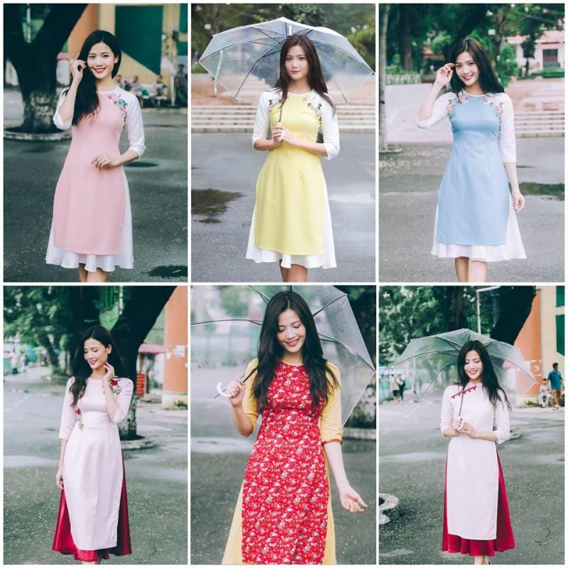 Những mẫu áo dài kết hợp váy cực tươi tắn, trẻ trung