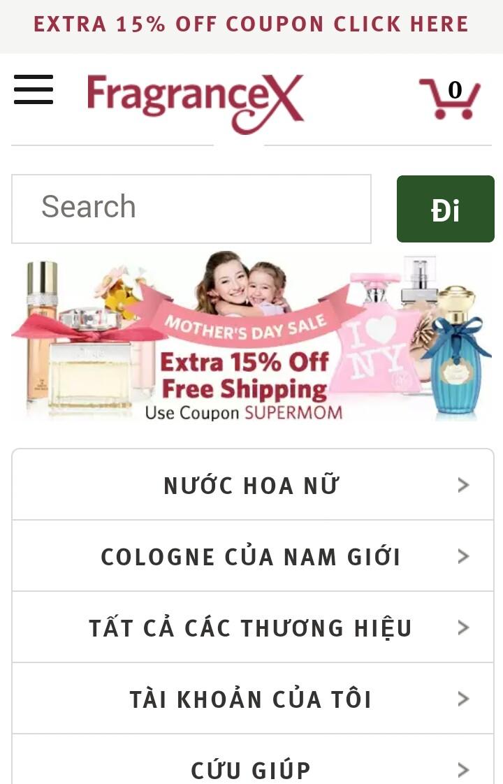 Trang web bán hàng uy tín ở Mỹ Fragrancex.