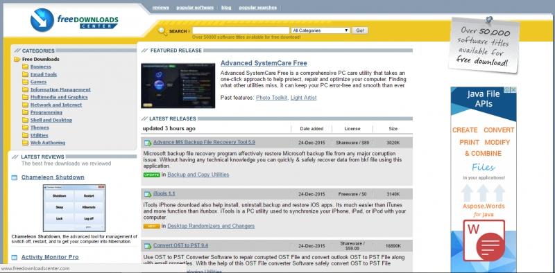 Giao diện trang web Freedownloadcenter.com