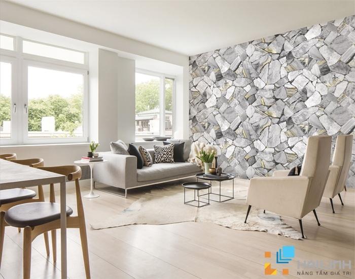 Chọn đá ốp tường phòng khách theo thứ tự ngẫu hứng sẽ là mảnh ghép hoàn hảo cho căn phòng đơn giản, hiện đại