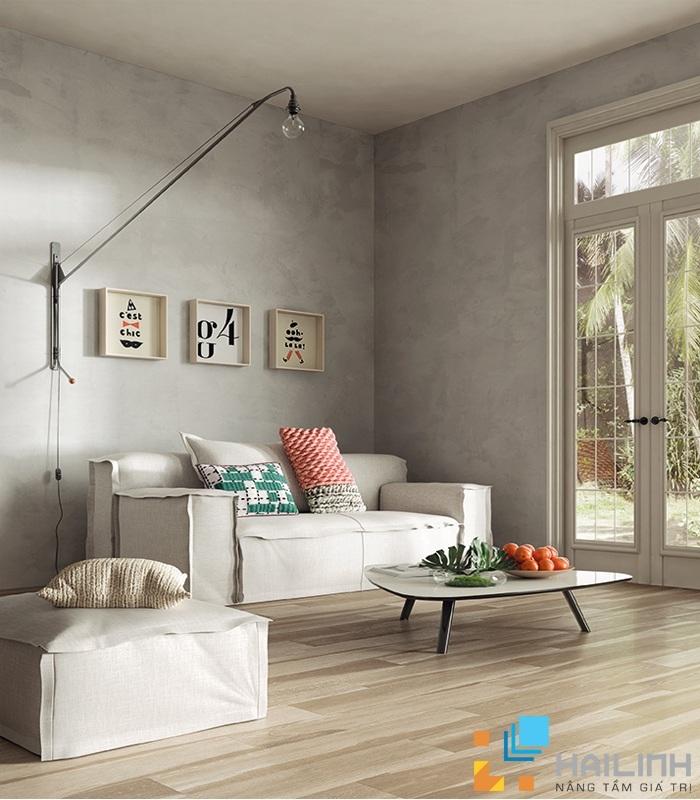 Họa tiết vân tuyết có các gam màu trung tính như: ghi, xám rất phù hợp để ốp phòng khách tạo nên không gian đơn giản, sang trọng