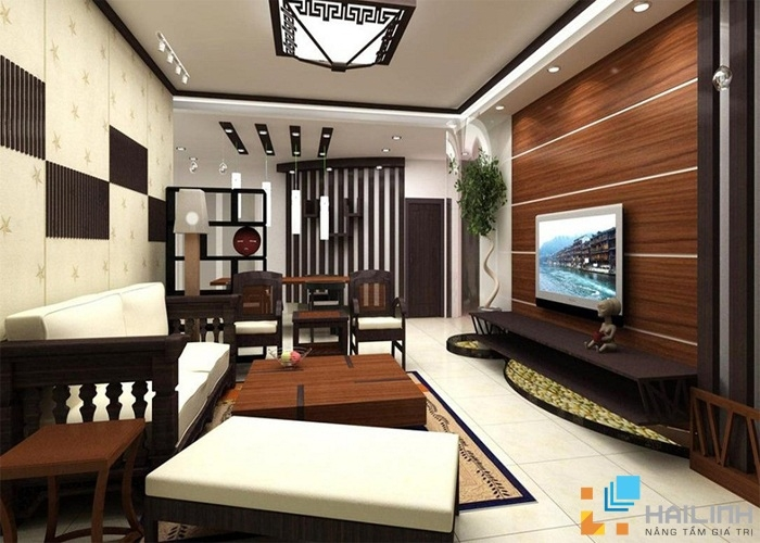 Phòng khách theo phong cách này sẽ  mang đến không gian êm đềm, ấm cúng