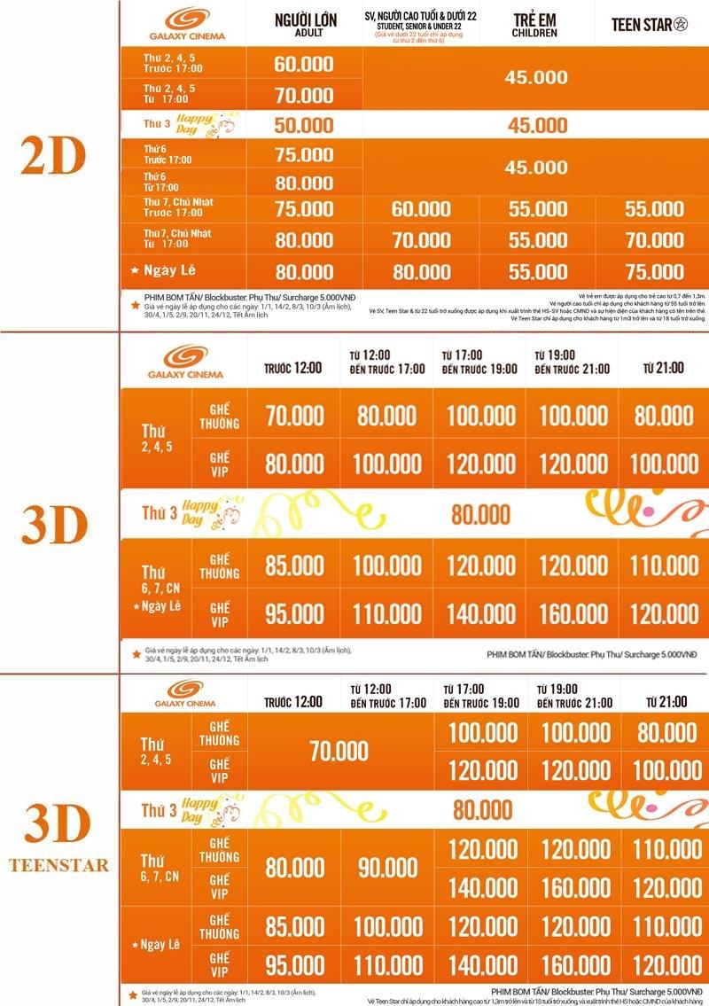 Bảng giá vé tại hệ thống rạp Galaxy áp dụng cho Galaxy Quang Trung, Tân Bình, Kinh Dương Vương. Giá vé tại Galaxy Nguyễn Du đắt hơn từ 5.000 - 10.000 đồng