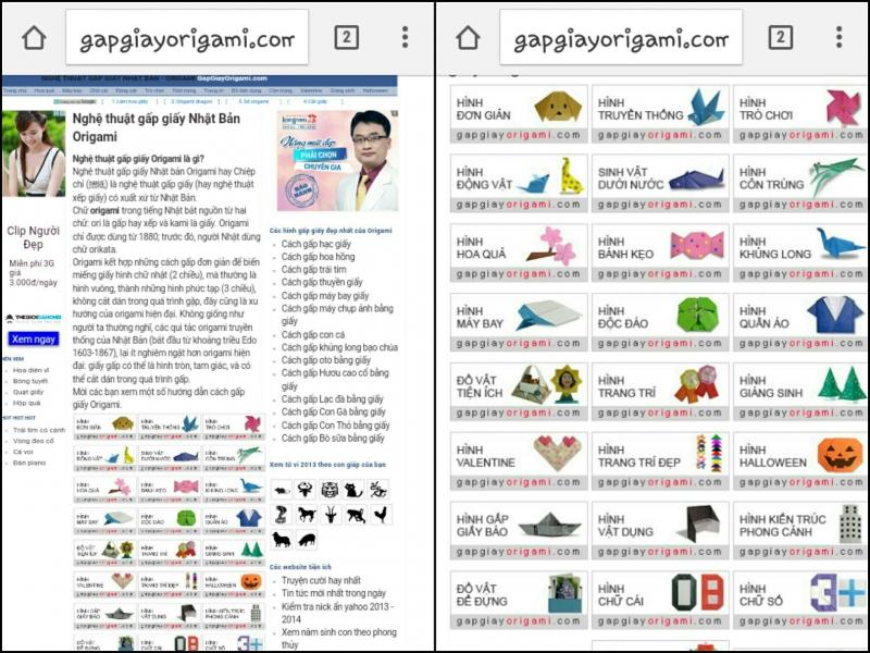 Trang chủ khá nhiều quảng cáo và những mẫu origami trên web