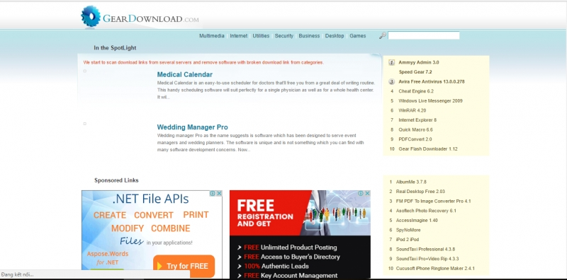 Giao diện trang web Geardownload.com