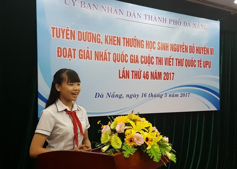 Huyền Vi được UBND thành phố Đà Nẵng khen thưởng
