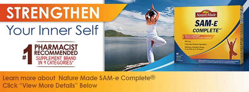 Giảm stress, an thần an toàn Nature Made SAM-e Complete 400mg 60 viên